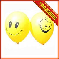 "[SH000001284] Кулька латексна 12"" пастель 03 чи 02 жовта з мал. ""ПОСМІШКА"" (100шт/уп) 1+1,Шарики сердечки"
