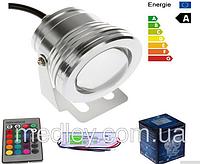 Мультицветной линзовый прожектор LED RGB IP67 10W 220V  с пультом