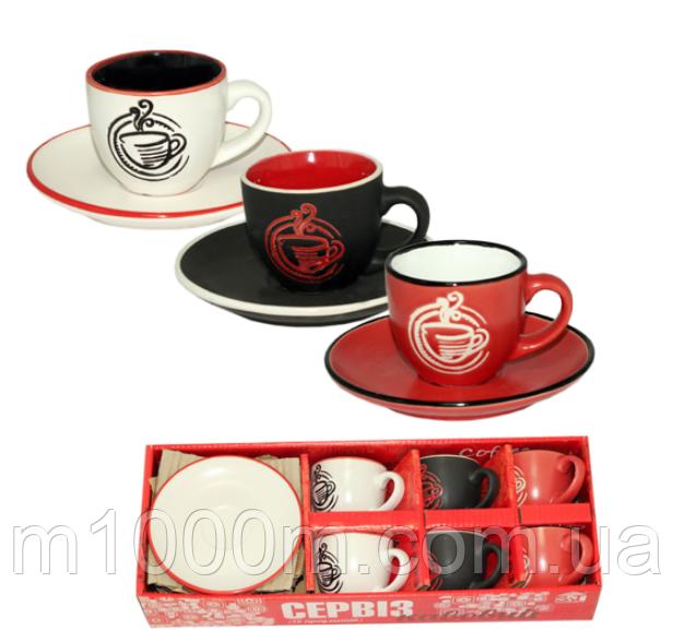 Сервиз кофейный 12пр. Аромат Кофе 1458-3 (чашка-100мл,блюдце-12см)
