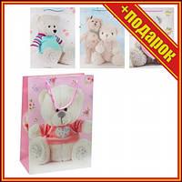 """Подарочный пакет """"Мишки"""", 12 шт,Бумажные подарочные пакеты,Подарочная упаковка,Подарочная бумага,Паперові"""