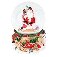 """Музыкальный снежный шар """"Санта на крыше"""", 14 см."""