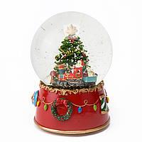 """Музыкальный снежный шар """"Санта на поезде"""", 12 см."""