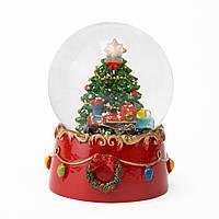 """Музыкальный снежный шар """"Новогодняя елка"""", 8,5 см."""