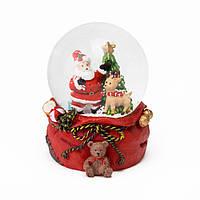 """Музыкальный снежный шар """"Санта и олень"""", 9 см."""