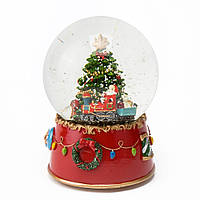 """Музыкальный снежный шар """"Санта на поезде"""", 17 см."""