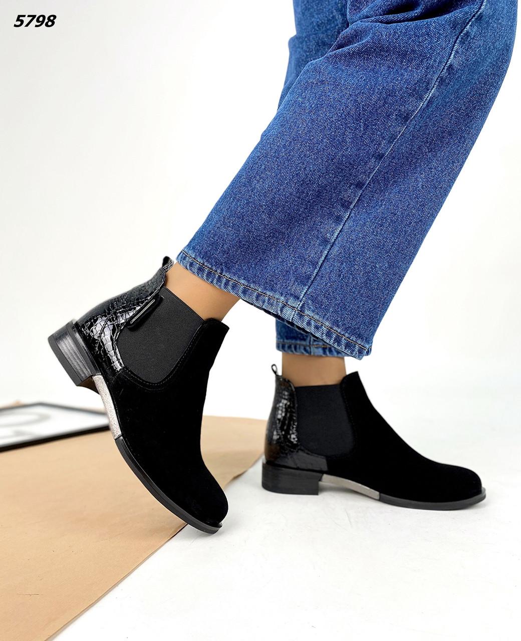 Женские Демисезонные кожаные Стильные ботиночки