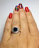 Прямокутне кільце в сріблі з чорним каменем Галактика, фото 3