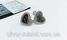 Серебряные сережки в виде сердца New York