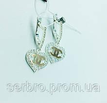 Серебряные серьги с подвесом сердце Love