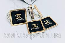 Серебряный комплект с золотом под бренд Шанель