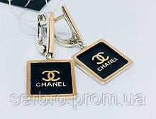 Серебряные серьги с подвесом под бренд Шанель