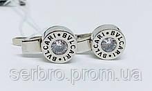 Брендовые серебряные сережки с цирконом Стиль