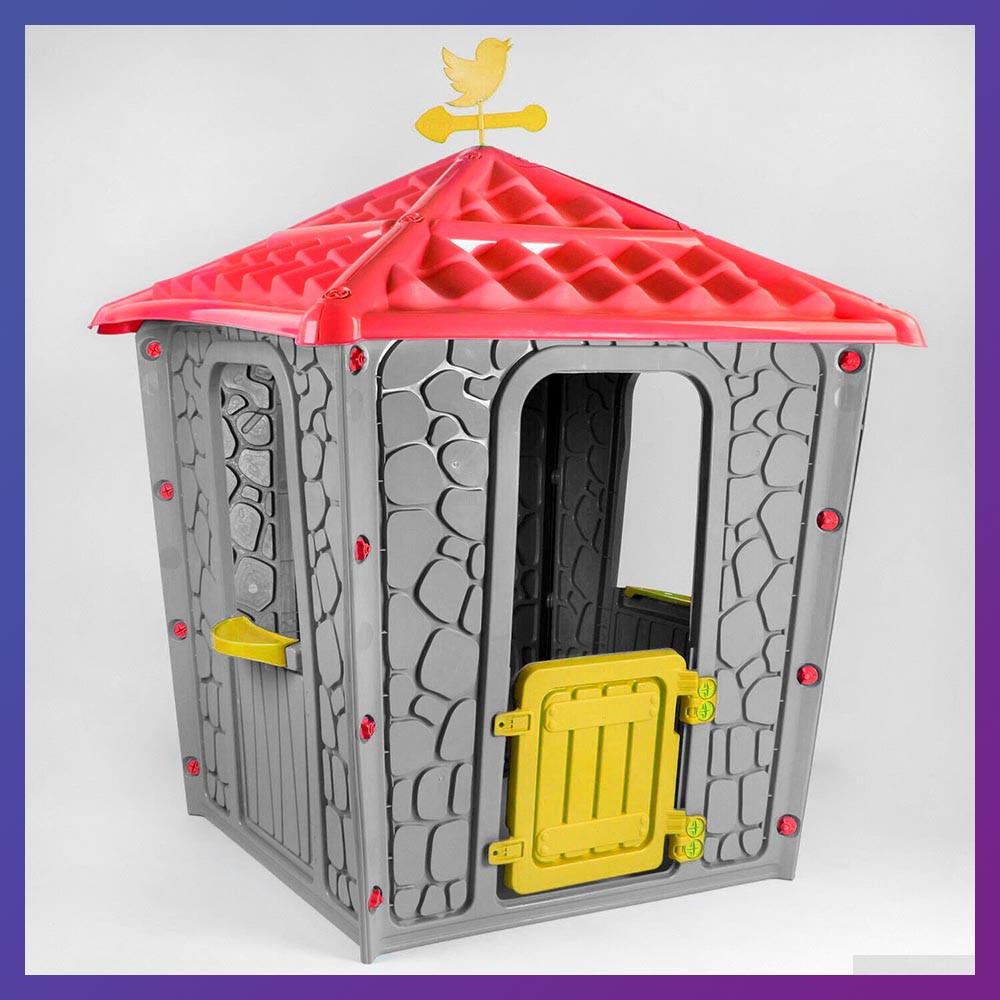 Детский игровой домик пластиковый Pilsan Stone 06-437 серый с красным