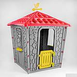 Детский игровой домик пластиковый Pilsan Stone 06-437 серый с красным, фото 2