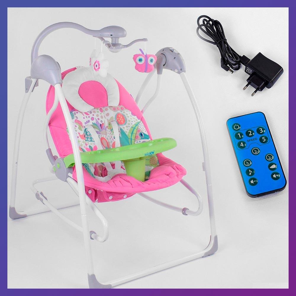 Заколисуючий центр дитячий з пультом JOY 3в1 CX-30858 Дитяче крісло-гойдалка з пультом рожевий