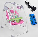 Заколисуючий центр дитячий з пультом JOY 3в1 CX-30858 Дитяче крісло-гойдалка з пультом рожевий, фото 5