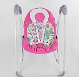 Заколисуючий центр дитячий з пультом JOY 3в1 CX-30858 Дитяче крісло-гойдалка з пультом рожевий, фото 7