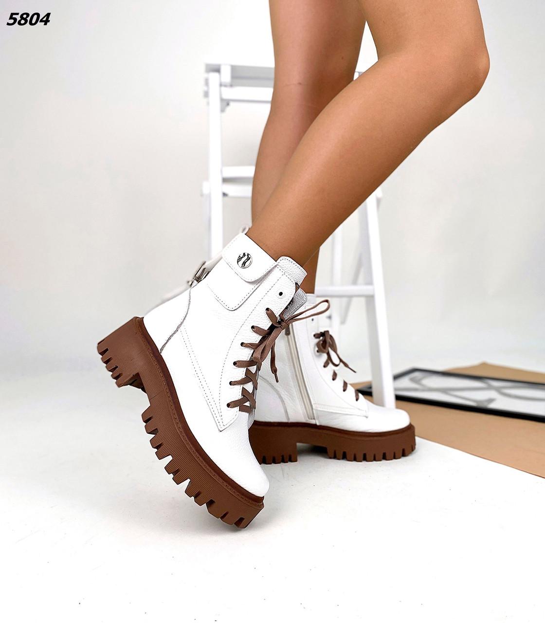 Жіночі демісезонні шкіряні черевики з кишенькою