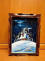 Ключница настенная деревянная ручной работы с картиной, фото 1