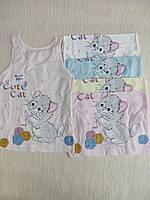 """Майка дитяча з кішкою на дівчинку від 0 до 9 років (1 упак/5 шт.) """"DONELLA"""" купити оптом в Одесі на 7км"""