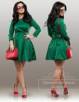 Платье цвет изумрудный с бантом зади