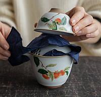 Чайний набір портативний складаний 2 чашки 150 мл жучжоуский фарфор з хурмою, фото 3