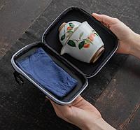 Чайний набір портативний складаний 2 чашки 150 мл жучжоуский фарфор з хурмою, фото 2