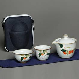Чайный набор портативный складной 2 чашки 150 мл жучжоуский фарфор с хурмой