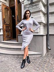Стильное платье-миди,серого цвета