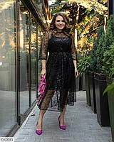 Гарне вечірнє плаття за коліно з спідницею кльош мереживне ошатне р:50-52,54-56,58-60 арт.0800