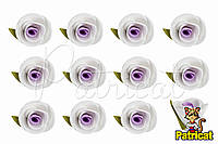 Бутоны Роз Бело-сиреневые из фоамирана (латекса) 2 см 10 шт/уп