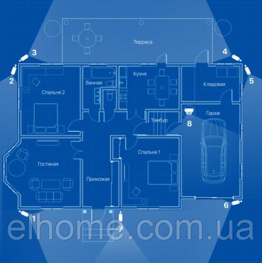 IP відеоспостереження 8 камер (2 Мп) для приватного будинку