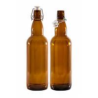 Бутылка для жидкости стеклянная 1л Litva2 коричн.(бугел.кр.)(6шт/уп)EVERGLASS