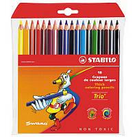 Карандаши цветные в пластиковом чехле Stabilo Trio 18 цветов 1960/18-03, 290218