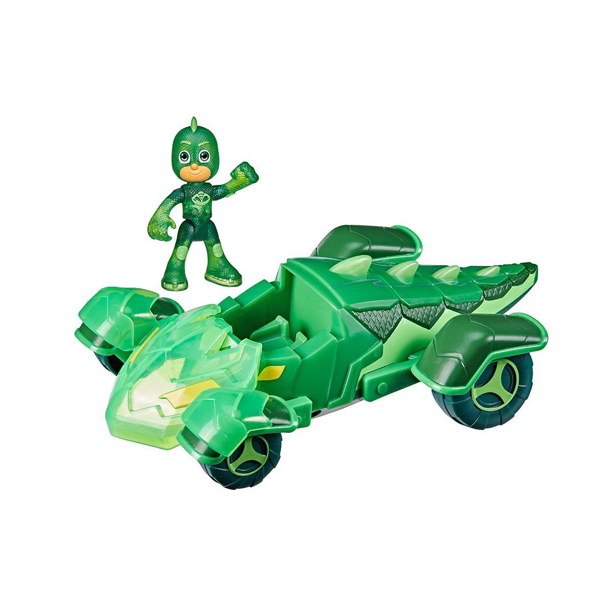 Набор с игровым транспортом герои в масках - гоночный геккомобиль (с фигуркой, светится)