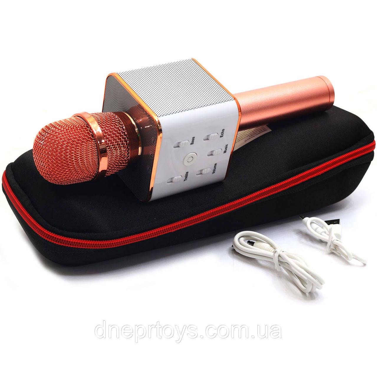 Беспроводной портативный микрофон-колонка для караоке с чехлом Розовое золото (Q7)