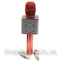 Беспроводной портативный микрофон-колонка для караоке с чехлом Розовое золото (Q7), фото 2