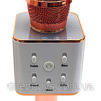 Беспроводной портативный микрофон-колонка для караоке с чехлом Розовое золото (Q7), фото 3