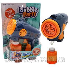 Бластер с раствором мыльных пузырей Bubble Party, запаска 120 мл, свет, синий, 20*17*7 см, (KM1388-33)