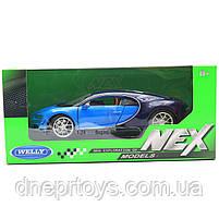 Игрушечная машинка Welly Nex «Країна Іграшок» Бугатти Широн, синий, 18 см (24077W), фото 2