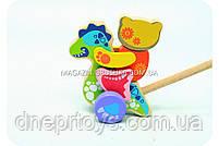 Детская деревянная каталка дракончик-каталка 12466 Cubika (Кубика). Деревянные эко игрушки, фото 3