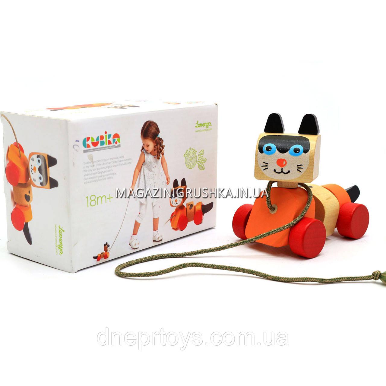 Детская деревянная каталка котик-каталка LK-5 Cubika (Кубика) 13616. Деревянные эко игрушки