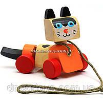 Детская деревянная каталка котик-каталка LK-5 Cubika (Кубика) 13616. Деревянные эко игрушки, фото 3