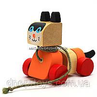 Детская деревянная каталка котик-каталка LK-5 Cubika (Кубика) 13616. Деревянные эко игрушки, фото 4