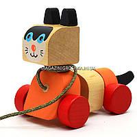Детская деревянная каталка котик-каталка LK-5 Cubika (Кубика) 13616. Деревянные эко игрушки, фото 5