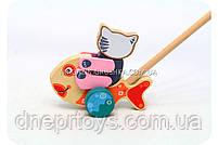 Дитяча дерев'яна рибка-каталка Cubika(Кубики). Дерев'яні еко іграшки, фото 5