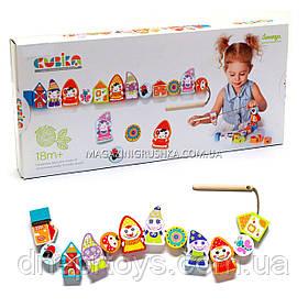 Детская деревянная шнуровка Cubika (Кубика) 13654. Деревянные игрушки