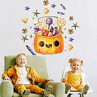 Декор для Хэллоуина Наклейки Корзина сладостей матовая (для окон стен хеллоуин тыква конфеты) Набор М