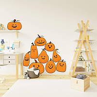 Декор для Хэллоуина Наклейки Веселые тыквы матовая оранжевый (для окон стен на хеллоуин) Набор М