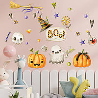 Декор для Хэллоуина Набор наклеек Бууу!) матовая (хеллоуин тыквы метла привидения конфеты) Набор М 1100х500мм